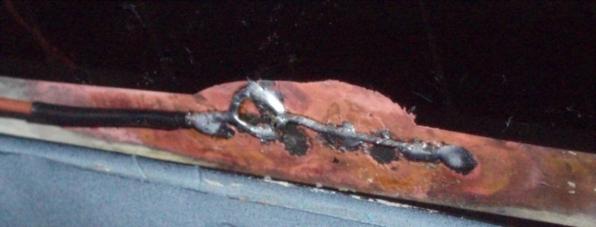 Пайка провода к шине