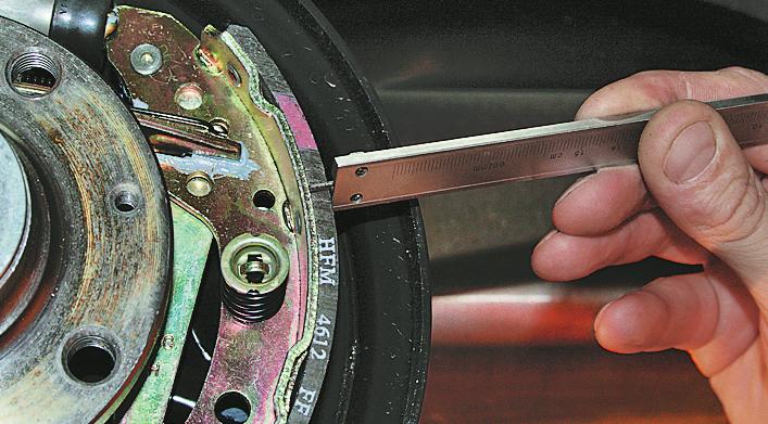 измерение фрикционного слоя тормозных колодок