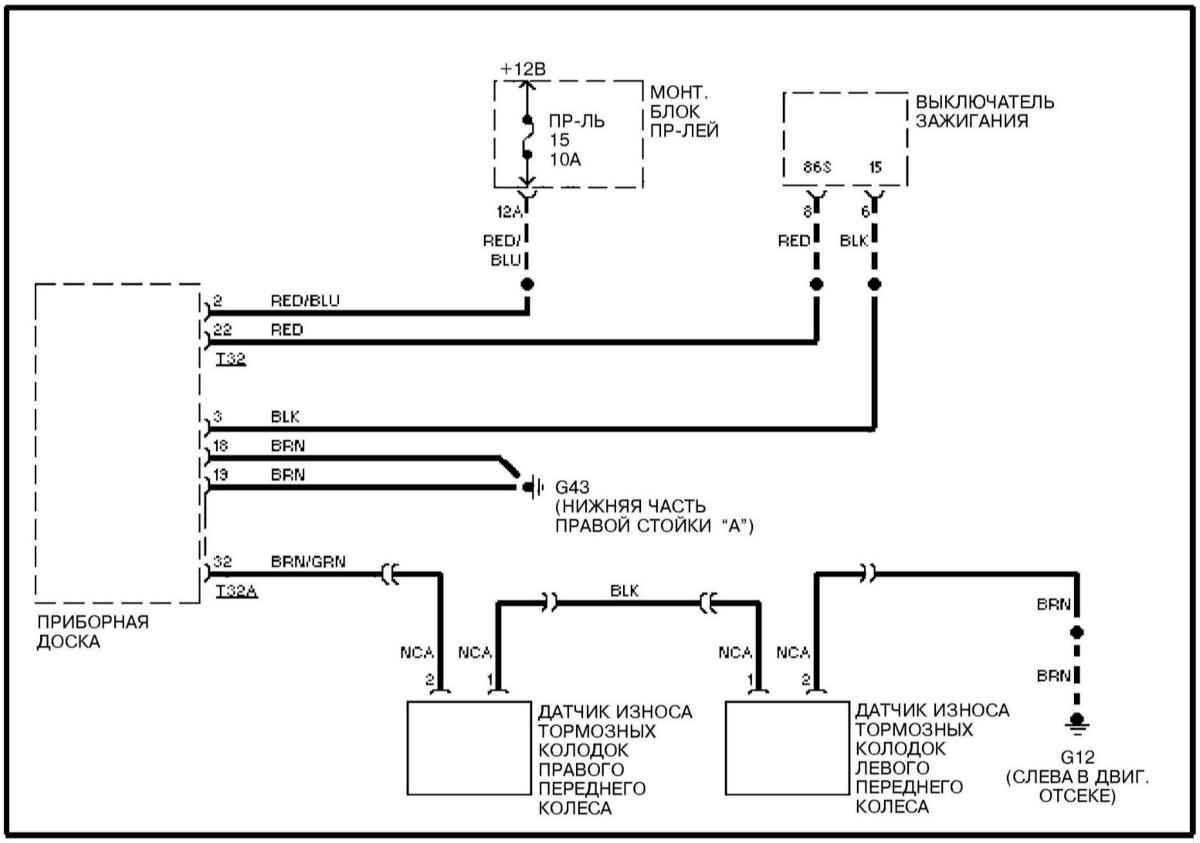 схема электронной цепи замыкания датчика износа колодок